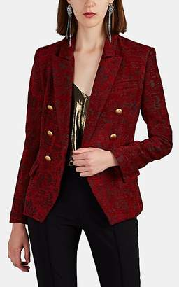 L'Agence Women's Kenzie Floral-Jacquard Double-Breasted Blazer - Red