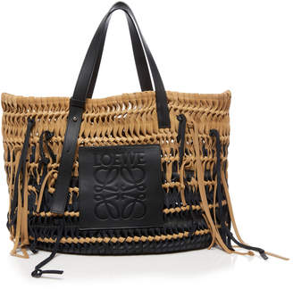 Loewe Woven Suede and Leather Tote Bag