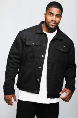boohoo Big And Tall Black Denim Jacket