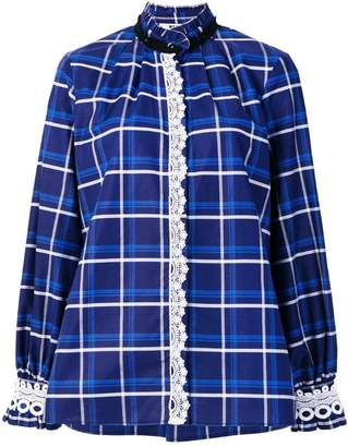 MSGM checked crochet trim blouse