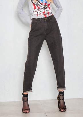 Missy Empire Ethelyn Black High Rise Roll Hem Mom Jeans