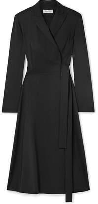 Max Mara Wool-crepe Wrap Midi Dress - Black