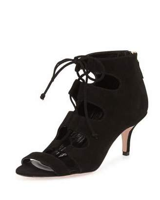 Delman Tryst Ghillie-Tie Suede Open-Toe Bootie, Black $448 thestylecure.com