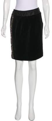 J. Mendel Sequin-Embellished Knee-Length Skirt Black Sequin-Embellished Knee-Length Skirt