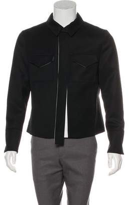 Valentino Virgin Wool Contrast-Trim Military Jacket