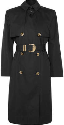 Versace Belted Cotton-blend Gabardine Trench Coat - Black
