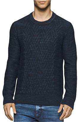 Calvin Klein Jeans Men's Space Dyed Cable Crew Neck Sweater