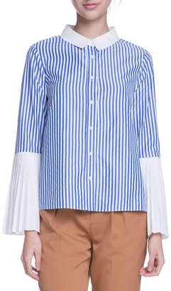ENGLISH FACTORY Pleated-Sleeve ButtonFront Top