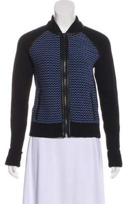 Rag & Bone Zip-Up Leather-Trimmed Sweater w/ Tags