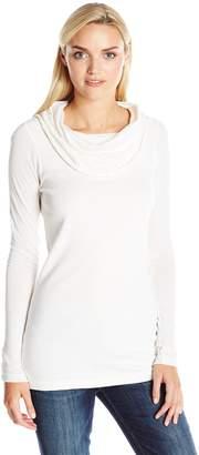 Three Dots Women's Long Sleeve Draped Boat Neck Tunic Top
