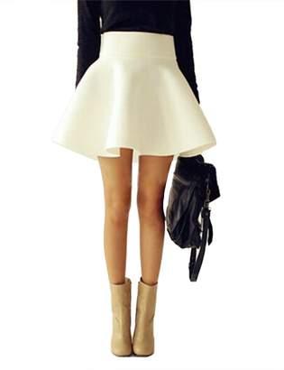 Imagine Women's Basic Versatile Stretchy Flared Casual Mini Skater Skirt Gy-M