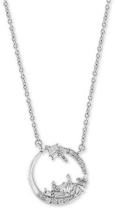 """Effy Diamond Abstract Open Disc 18"""" Pendant Necklace (1/3 ct. t.w.) in 14k White Gold"""
