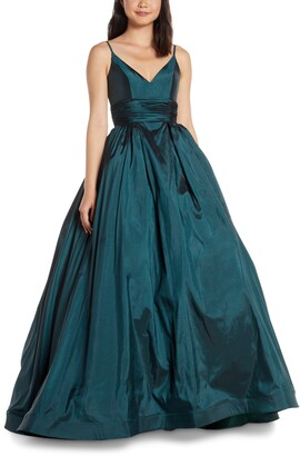 Mac Duggal V-Neck Satin Prom Dress