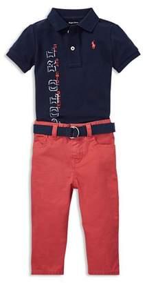 Ralph Lauren Boys' Graphic Logo Polo, Belt & Jeans Set - Baby