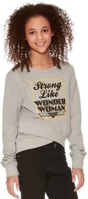 M&Co Teens' Wonder Woman wrap front sweater