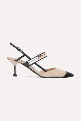 Prada Logo-embossed Rubber And Patent-leather Slingback Pumps - Neutral
