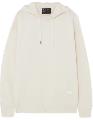 Markus Lupfer Immy Appliqued Wool And Cashmere-blend Hoodie - White