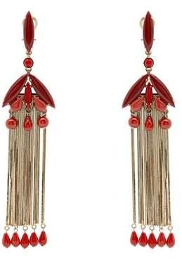 Etro Bead Embellished Drop Earrings - Womens - Red