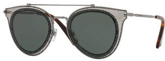Valentino Metal Mesh Aviator Sunglasses