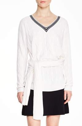 Sandro Emma Tie Front Sweater