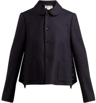 Comme des Garcons Ruffled Wool Jacket - Womens - Navy