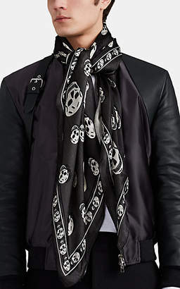 Alexander McQueen Men's Skull-Print Silk Chiffon Scarf - Black