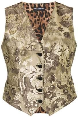 Dolce & Gabbana brocade and leopard print waistcoat
