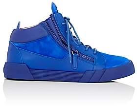 Giuseppe Zanotti MEN'S DOUBLE-ZIP MID-TOP SNEAKERS-BLUE SIZE 8 M