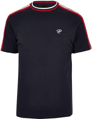 River Island Mens Big and Tall Navy 'Prolific' tape T-shirt