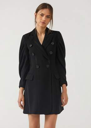 Emporio Armani Double-Breasted Jacket Dress With Embroidered Vertical Stripes