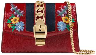 Gucci Super Mini Sylvie Embroidered Chain Wallet with Hook