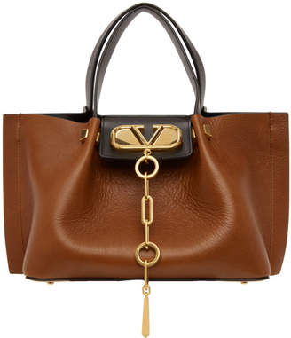 Valentino Brown Garavani Small VLogo Escape Shopper Tote