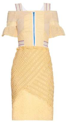 Peter Pilotto Selene Off The Shoulder Lace Panel Dress - Womens - Light Yellow