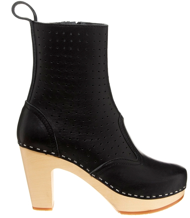 Swedish Hasbeens Perforated Zipper Boot