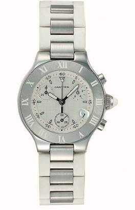 Cartier Women's W10197U2 Must 21 Chronoscaph Stainless Steel and Rubber Chronograph Watch