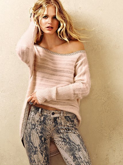 Victoria's Secret Shadow Stripe Angora Tunic Sweater