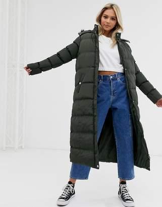 Brave Soul hopma longline puffer jacket with faux fur trim hood