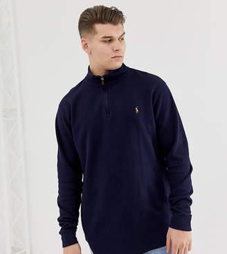Polo Ralph Lauren Big & Tall half zip cotton knit jumper multi player logo in navy