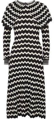 Stella McCartney Cape-effect Intarsia Wool Midi Dress - Black