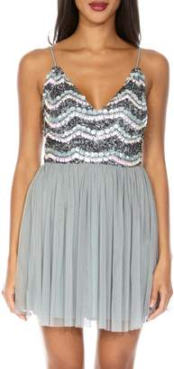 Amika LACE & BEADS Sequin & Mesh Party Dress