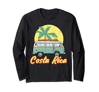 Costa Rica Vintage Retro Hippie Beach Van Surfing Long Sleeve T-Shirt