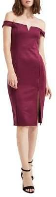 Miss Selfridge Off-The-Shoulder Scuba Pencil Dress