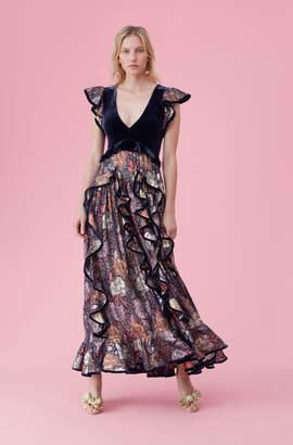 Rebecca Taylor Glistening Rose Velvet Ruffle Dress