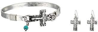 M&F Western Hammered Cross Bracelet/Earrings Set