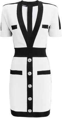 Balmain Deep Front Knit Mini Dress