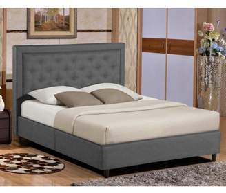 e36b09b16da2 Glamour Home Alivia Dark Grey Upholstered Platform Bed with Button  Stitching Accent Queen Size