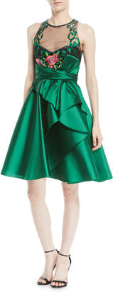 Marchesa Sleeveless Illusion Dress w/ Mikado Skirt