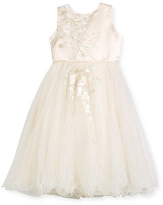 Joan Calabrese Satin & Tulle Special Occasion Dress w/ Floral Embroidery, Ivory, Size 4-14