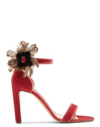 Rupert Sanderson Nymphea feather-trimmed velvet sandals