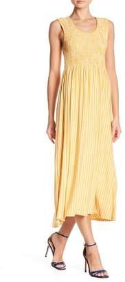 Max Studio Smocked Striped Maxi Dress